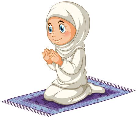 Ilustración de Female muslim praying on the carpet - Imagen libre de derechos