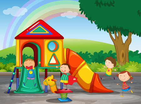Illustration for Children playing in the playground - Royalty Free Image