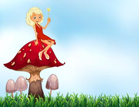 Fairy sitting on top of mushroom