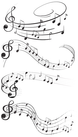 Four set of music notes