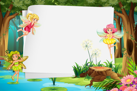 Illustration pour Fairies flying in the forest and a blank sign - image libre de droit