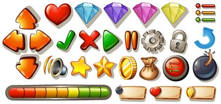 Ilustración de Different symbols and icons of game elements - Imagen libre de derechos