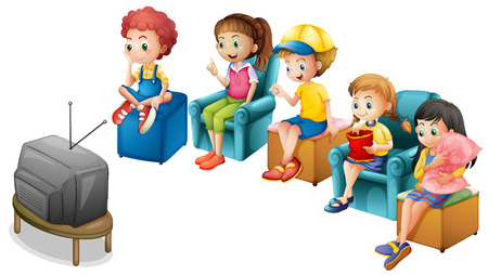 Boys and girls watching television on chairs