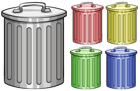 Illustration pour Five different color trash cans - image libre de droit