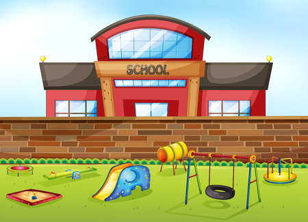 School building and playground area
