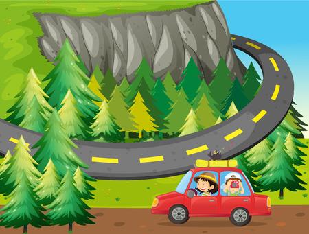 Illustration pour Road trip out in the national park - image libre de droit