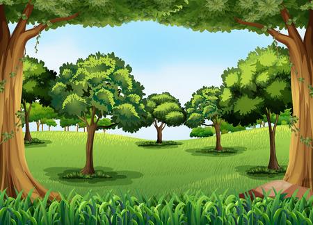 Illustration pour Forest scene at day time - image libre de droit