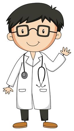 Illustration pour Close up doctor with stethoscope - image libre de droit