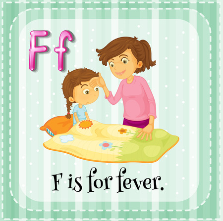 Flashcard letter F is for fever