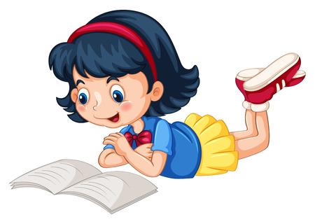 Ilustración de Closeup happy girl reading book alone - Imagen libre de derechos