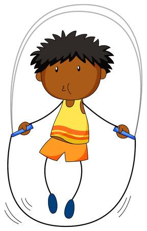 Closeup boy jumping rope alone