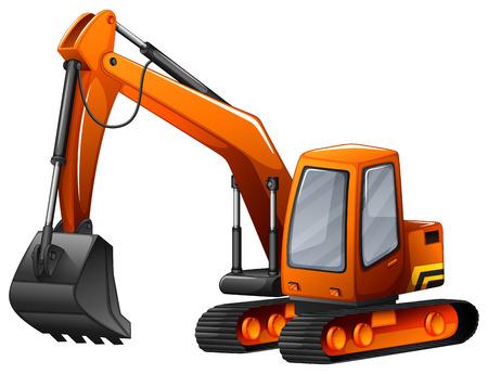Closeup excavator with big shovel