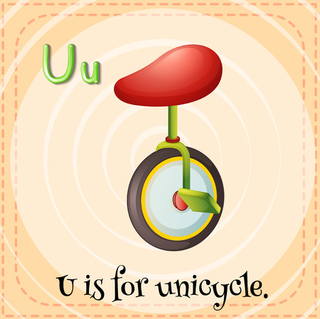 Flashcard letter U is for unicycle