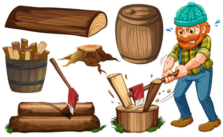 Lumberjack chopping woods and other items of wood