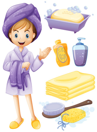 Set of bathroom objects with girl in robe