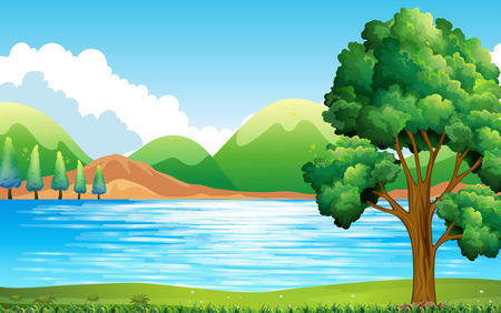 Nature scene of lake and park