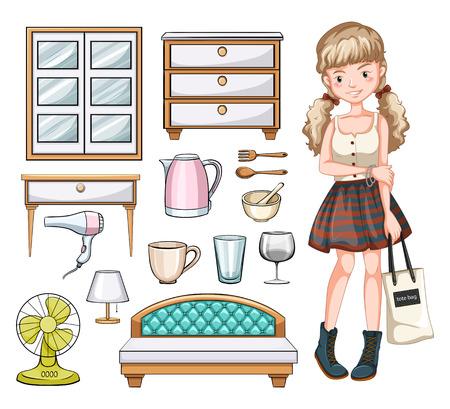 Illustration pour Woman and household objects illustration - image libre de droit