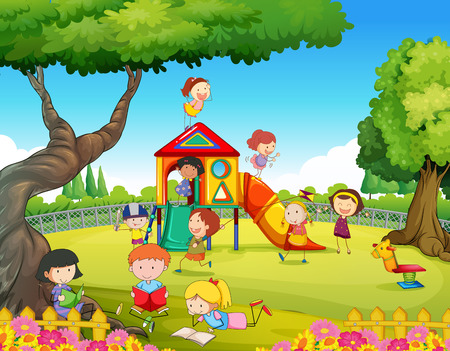 Illustration pour Children playing in the playground illustration - image libre de droit