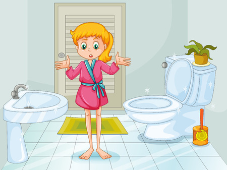 Girl standing in clean bathroom illustration
