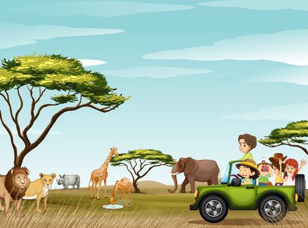 Ilustración de Roadtrip in the field full of animals illustration - Imagen libre de derechos