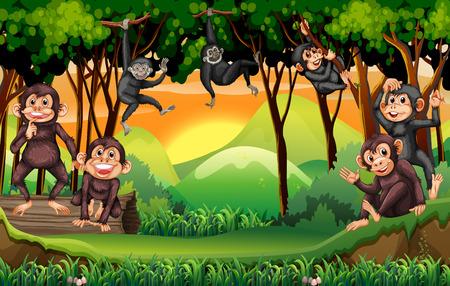 Ilustración de Monkeys climbing tree in the jungle illustration - Imagen libre de derechos