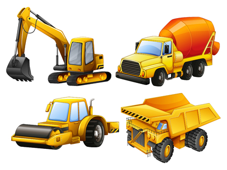 Tractors and bulldozers in yellow illustration