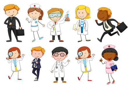 Man and woman from different occupations illustration