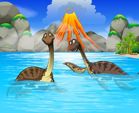 Illustration pour Dinosaurs swimming in the lake illustration - image libre de droit
