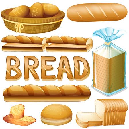 Illustration pour Bread in various kinds illustration - image libre de droit