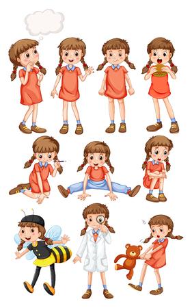 Ilustración de Little girl doing different activities illustration - Imagen libre de derechos