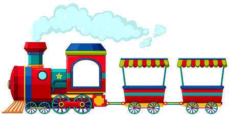 Illustration pour Red train with two carriages illustration - image libre de droit