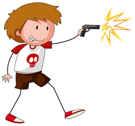 Boy playing with gun illustration