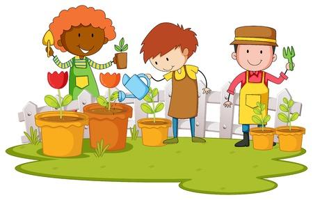 Gardeners planting tree and flower in garden illustration