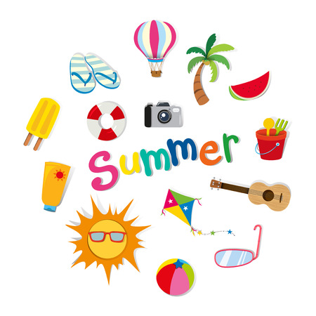 Illustration pour Summer theme with food and objects illustration - image libre de droit