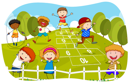 Children playing hopscotch in the park illustration
