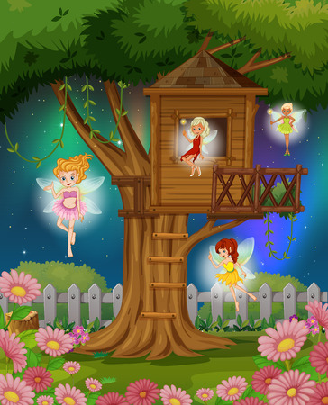 Illustration for Fairies flying in the garden illustration - Royalty Free Image