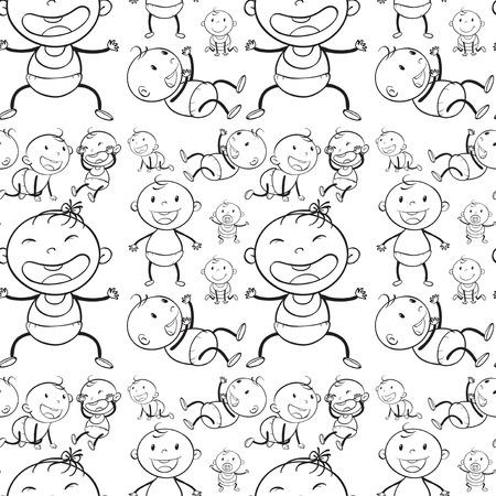 Foto de Seamless babies in different actions illustration - Imagen libre de derechos