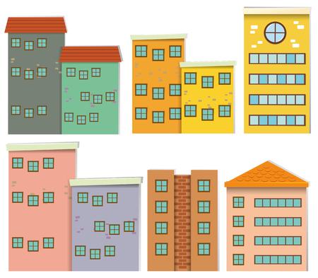 Different design of buildings illustration
