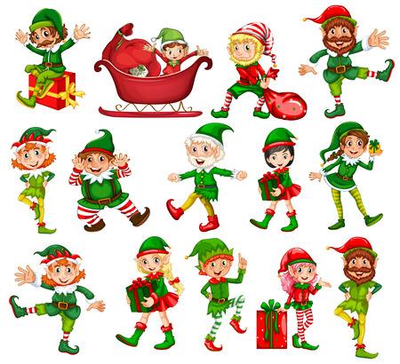 Illustration pour Christmas elf in different positions illustration - image libre de droit