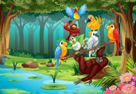 Illustration pour Wild animals in the forest illustration - image libre de droit