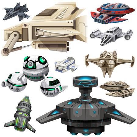 Illustration for Different design of spaceships illustration - Royalty Free Image