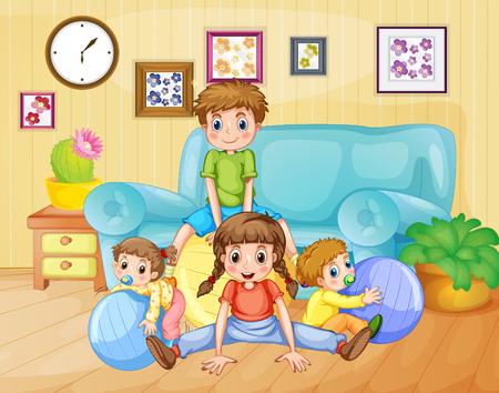 Ilustración de Boys and girls playing balls in the room illustration - Imagen libre de derechos