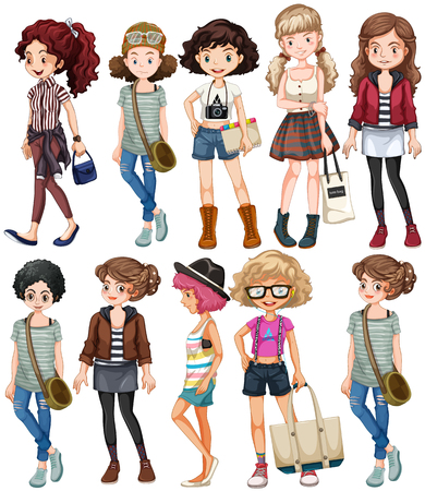 Girls in different clothings illustration