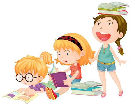Illustration for Three girls enjoy reading books illustration - Royalty Free Image