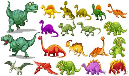 Illustration pour Different kind of dinosaurs illustration - image libre de droit
