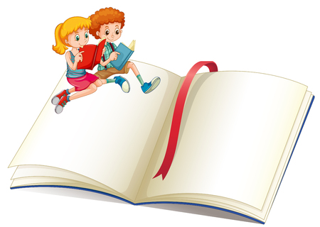 Illustration for Boy and girl reading book illustration - Royalty Free Image