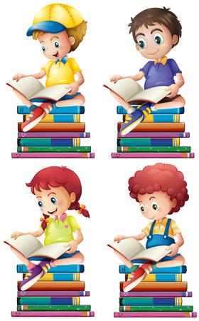 Illustration pour Boy and girl reading books illustration - image libre de droit