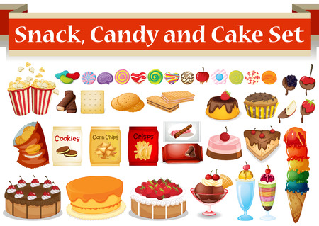 Illustration pour Many kind of snack and candy illustration - image libre de droit