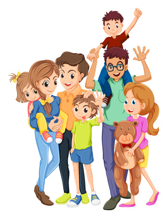 Illustration pour Family members with father and mother illustration - image libre de droit