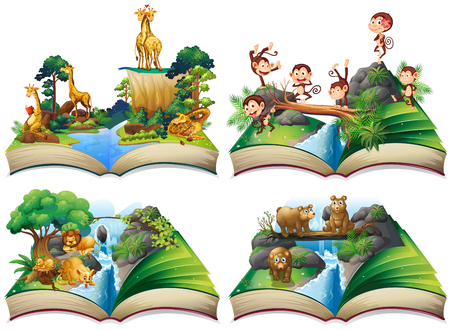Illustration for Book with wild animals in the jungle illustration - Royalty Free Image